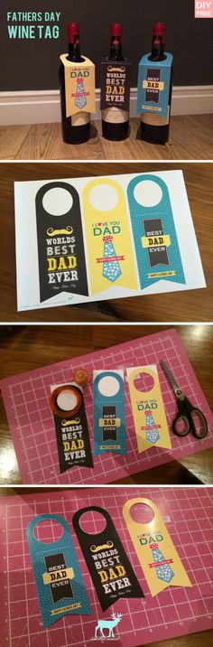 DIY Free Fathers Day wine Bottle Tag - JustLoveDesign