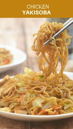 Chicken Yakisoba with flavorful chicken, crisp veggies, and noodles, is hearty, delicious and sure to be a family favorite! A quick one-pan meal perfect for busy weeknights!
