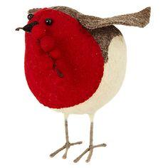 Buy Scandi-chic Felt Robin with Berries Decoration, Medium Online at johnlewis.com