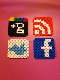 Social network coasters hama beads by Irema Diadema