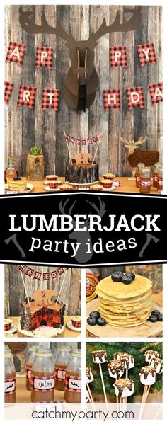 Check out this fun Lumberjack birthday party! The plaid birthday cake is fantastic!! See more party ideas and share yours at CatchMyParty.com  #lumberjack #birthdayparty