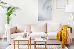 Casual-cute living room / pink pastels / bright whites / summer vibes / IKEA Vimle 3-seater sofa with Bemz Malmen Velvet slipcover in Rose