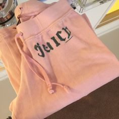 Juicy couture velour pant Pink with green writing velour pant. Flare Juicy Couture Pants Jumpsuits & Rompers