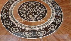Wood inlay floor medallion, intarzia érme