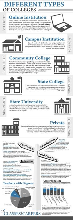 The Different Types of Colleges Infographic provides information explaining the differences in the various types of colleges available.