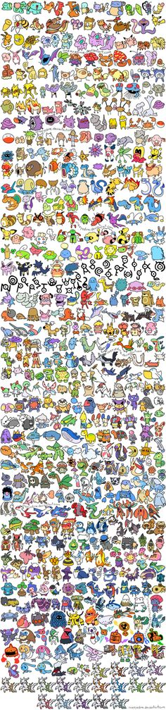 This large list of Pokemon shows how they appear in one of the original games and how they are created through simple pixels and colours to make each look different but not be too time consuming to create. Though their other sprite forms are not shown (eg walking, fighting), I think this is an effective way of showing them of a game that uses 2D ones.