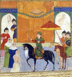 Details of headscarves on te women to the left. Prise de Nîshâbûr - Jami al-tawarikh — Wikipédia Perse Antique, Ancient Persian, Iranian Art, Pre And Post, Bnf, North Africa, Art Drawings, Miniatures, Horses