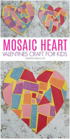 Easy Mosaic Heart Craft mosaic heart crafts for preschoolers valentines craft<br> Make a card and paper mosaic heart craft that's perfect for Valentines Day and practicing scissor skills plus more easy heart projects for preschoolers. Valentine's Day Crafts For Kids, Valentine Crafts For Kids, Valentines Day Activities, Toddler Crafts, Preschool Crafts, Holiday Crafts, Daycare Crafts, Kinder Valentines, Valentines Art