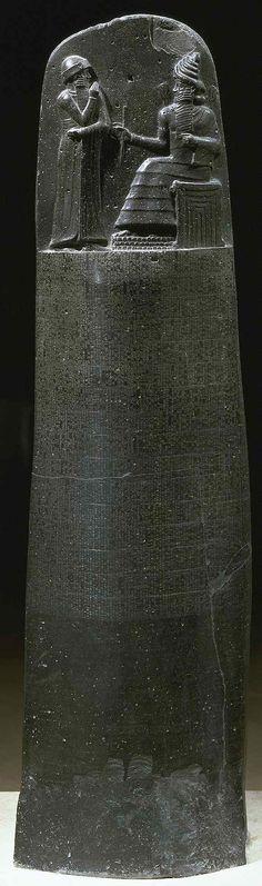 Stele of Hammurabi   from Susa  (Code of Hammurabi)  c1780 BCE Basalt (diorite) stone  7' tall