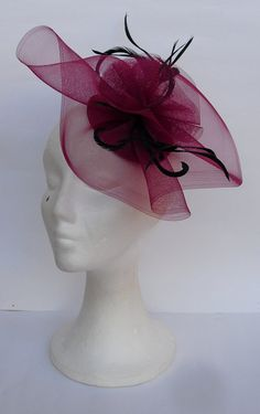 Burgundy fascinator headpiece with black feathers by TocameMika, $50.00
