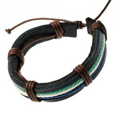 Multicolored Rope Straps Black Leather Bracelets