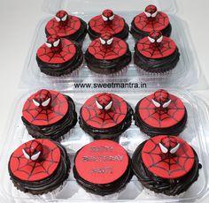 Homemade Eggless 3D/Custom Spiderman theme birthday cupcakes for boy at Baner, Pune