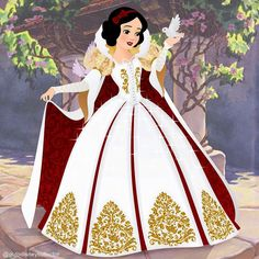 Snow White in her new and beautiful white, gold and red dress (dedicated to the 80th anniversary of Snow White and the Seven Dwarfs)