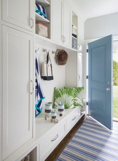 mudroom with blue do