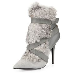 Charles Jourdan Knife Rabbit-Fur Bootie ($239) ❤ liked on Polyvore featuring shoes, boots, ankle booties, fur, heels, grey, heeled booties, short grey boots, gray booties and heeled boots