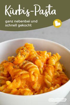 Easy Pasta Recipes, Veggie Recipes, Easy Meals, Healthy Recipes, Healthy Dinners, Canned Pumpkin Recipes, Pumpkin Pasta, Food Inspiration, Food Porn