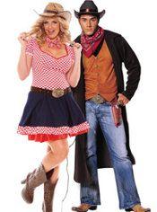 Plus Size Hayloft Honey and Plus Size Gunslinger Couples Costumes