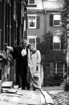 Mr. Thomas Crown and Miss Vicki Anderson, Beacon Hill, Boston.  Steve McQueen and Faye Dunaway, 1968.