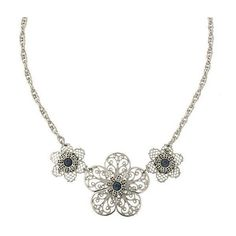 1928 Jewelry Liliana Vines Filigree Flower Statement Necklace ($22) ❤ liked on Polyvore