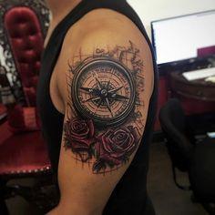 Artisticly Rich Compass Tattoo Designs (79)