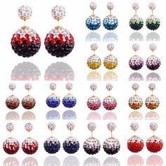 2016 Fashion Beads Earrings  Double Side Shamballa Earring Crystal Ball Bling Earrings for Women Sterling Silver Jewelry