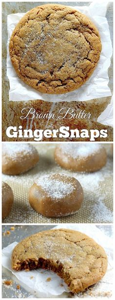 Soft and Chewy Brown Butter Gingersnaps - WHOA!!! These are AMAZING! Crunchy edges, chewy middles, and so much ginger flavor!!! YUM!