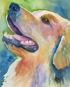 pup art watercolor yellow lab dog
