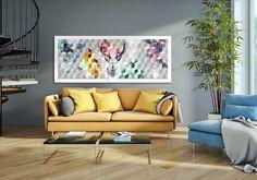 Wandgestaltung - Leinwandbild 150x60cm - DEER - ein Designerstück von LUdesign-gallery bei DaWanda