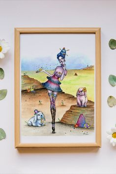 """""""Real/Fake"""" is an original watercolor painting from my Circus Circus series. The series is about a girl with magical power escaping the circus with her partner bunny, and the adventures they encounter along the way. Watercolor Print, Watercolor Paper, Watercolor Paintings, Circus Circus, Magical Power, Bunny Art, Hand Illustration, Ink Painting, Surrealism"""