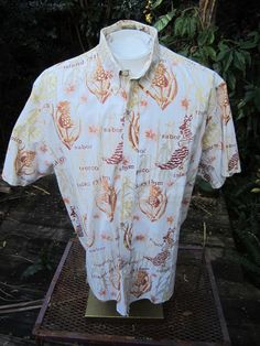 5d40591f Hawaiian ALOHA shirt XL pit to pit 28 NATURAL ISSUE latin theme Sabor  girlie #NaturalIssue #ButtonFront