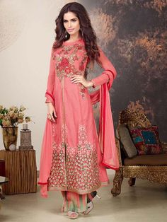 Red Color #Indian #Designer Front Open Straight Cut #Salwar Kameez Suit