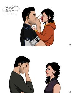 "liverquiver: "" and then shepard will say ""no no no, use your forehead, not your whole face, have i taught you nothing"" and kaidan becomes a walking facepalm. """