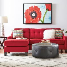 Cindy Crawford Home Madison Place Cardinal 2 Pc Sectional x x . Find affordable Living Room Sets for your home that will complement the rest of your furniture. Red Couch Living Room, Sectional Living Room Sets, Leather Living Room Set, Living Room Decor, Small Sectional, Sectional Sofa, Sectional Furniture, Modern Sectional, Chaise Sofa
