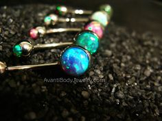 Opal Top & Bottom Belly Ring - 316L Stainless Steel - All Colors