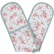 Bleached Flowers Double Oven Glove