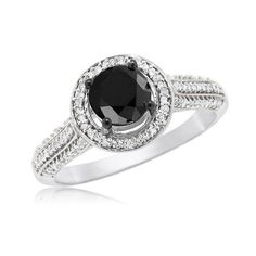 0.75 CT Round Black Diamond Solitaire Lifted Above White Halo and Band Accents Engagement Ring on 10k White Gold (1.00 ctw), Size 5	by Jewel Tie - See more at: http://blackdiamondgemstone.com/jewelry/wedding-anniversary/engagement-rings/075-ct-round-black-diamond-solitaire-lifted-above-white-halo-and-band-accents-engagement-ring-on-10k-white-gold-100-ctw-size-5-com/#sthash.NEGvUqu6.dpuf