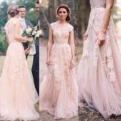 Women-Vintage-Long-Pink-Lace-Wedding-Dresses-Sexy-V-Neck-Ball-Bridal-Gowns-2016