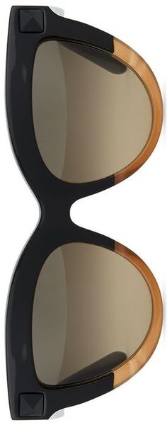 Valentino Tonal-Stud Sunglasses, Black/Honey