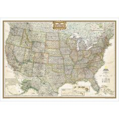 National Geographic's Executive reference map of the United States features all 50 States with insets for Alaska and Hawaii in antique-executive cartographic style.
