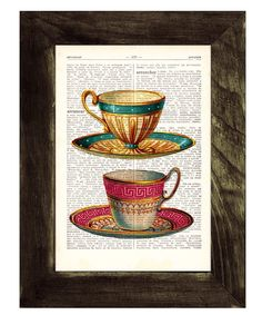 Teacups Upcycled Dictionary Page Two Teacups print on by PRRINT, $7.99 (Another one for mom)