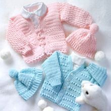 LeisureArts provides wide collections of Crochet baby sweater set patterns for boy & girl. Your little ones will be warm and cozy and cute as can be when the weather's cold. Boy Crochet Patterns, Baby Hat Patterns, Clothes Patterns, Dress Patterns, Crochet Baby Sweaters, Crochet Baby Clothes, Hat Crochet, Crochet Baby Jacket, Crochet Fabric