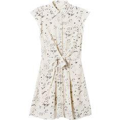 Rebecca Taylor Astro Print Shirtdress (310 AUD) ❤ liked on Polyvore featuring dresses, macaroon, short silk dress, white knee length dress, silk shirt dress, button front shirt dress and long shirt dress