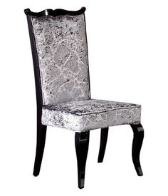 Find 2 chairs. Pewter or black. Reupholster blue velvet. Maybe tuft.
