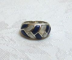 Ring Sterling MOP & Blue Lapis Size 6 $30.00 via VintageMotifs55
