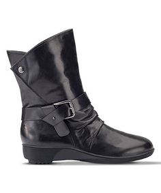 Black Vilonda Leather Boot #zulily #zulilyfinds