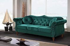 The Modern Living Room Sofa Features An Elegant Velvet Upholstery with High-Density Foam Fill with Spring Support, Piped Seat Cushions, Matching Bolster Pillows, and a Button-Tufted Backrest that Elevates the Design. #frenchcountrysofa