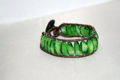 Beaded wrap bracelet  green leather cuff  leather by mvtreasures, $20.00