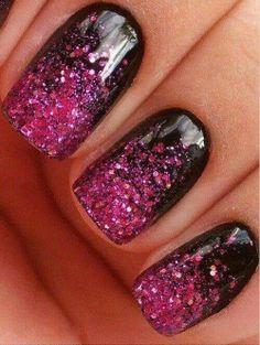 Black fade into pink nails