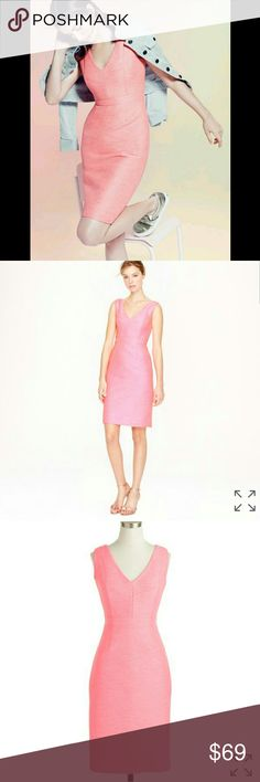J.CREW Basket weave Pink Collection Dress Beautiful structured dress from the pink J.Crew collection. Thick material. 80% polyester 20% cotton. Great condition! Originally $350 J. Crew Dresses