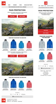 Responsive email design from The North Face Responsive Email, Responsive Web Design, Email Layout, Favorite Position, Goal Digger, Email Design, Kids Bags, Email Marketing, Layouts